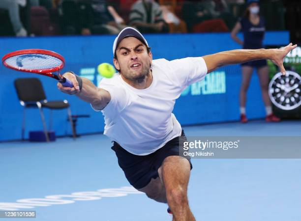 Aslan Karatsev of Russia plays their men's final match against Marin Cilic of Croatia during on Day Seven of the VTB Kremlin Cup at Central court of...