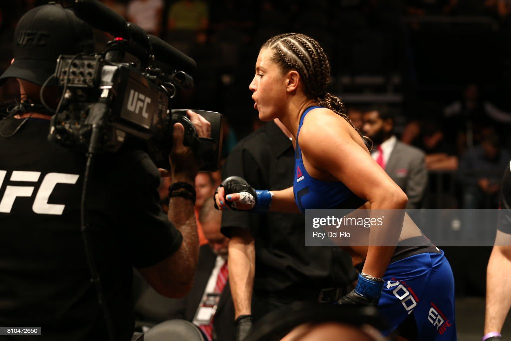 Asley Yoder enters the Octagon before facing Angela Hill during The Ultimate Fighter Finale event inside the T-Mobile Arena on July 7, 2017 in Las Vegas, Nevada.