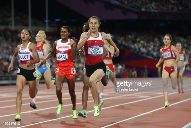 Asli Cakir Alptekin of Turkey Gamze Bulut of Turkey and Maryam Yusuf Jamal of Bahrain compete in the Women's 1500m Final on Day 14 of the London 2012...