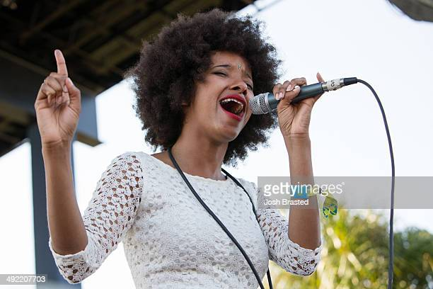 Asli Omar of The Tontons performs at the Red Bull Sound Select Stage during the 2014 Hangout Music Festival on May 18 2014 in Gulf Shores Alabama