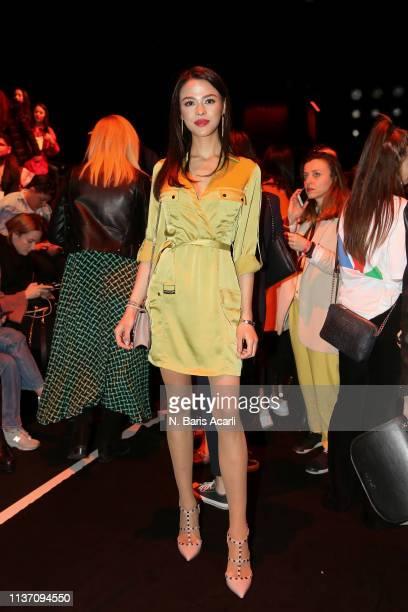 Aslihan Karalar attends the MercedesBenz Fashion Week Istanbul March 2019 at Zorlu Center on March 20 2019 in Istanbul Turkey