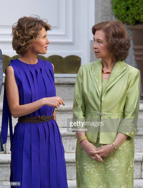 Asma alAssad and Queen Sofia of Spain pose for photographers at Zarzuela Palace on July 4 2010 in Madrid Spain