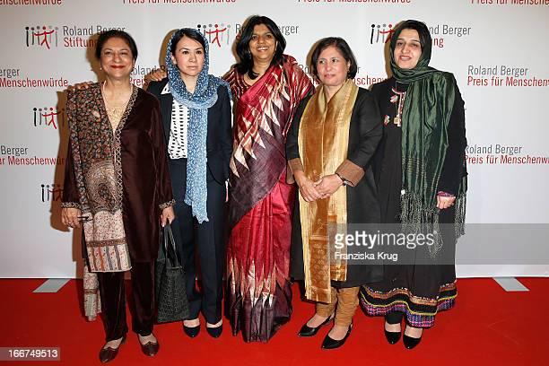 Asma Jahangir Leeda Yacoobi Kalpana Viswanath Suneeta Dhar and Hasina Safi attend the 'Roland Berger Human Dignity Award' ceremony at Jewish Museum...