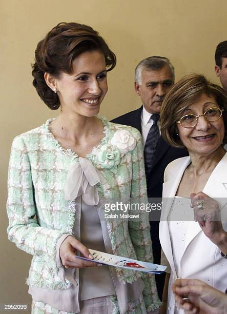 Asmaa alAssad wife of the Syrian President attends the first national childhood conference February 8 2004 in Aleppo in the north of Syria The first...