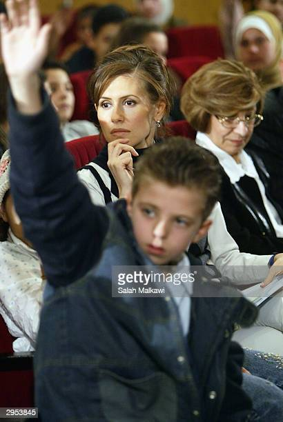 Asmaa alAssad wife of the Syrian President attends the first national childhood conference February 9 2004 in Aleppo in the north of Syria In...