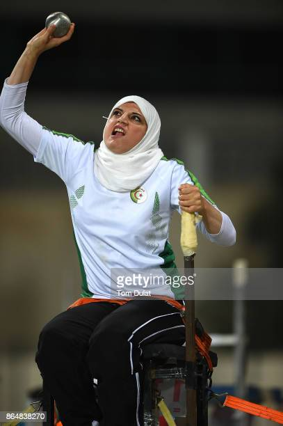Asmahan Boudjadar of Algeria competes in Shot Put Wheelchair Women final during the 9th Fazza International IPC Athletics Grand Prix Competition...
