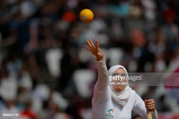 Asmahane Boudjadar of Algeria competingin the women's shot put F33 final during the World Para Athletics Championships 2017 at the Olympic Stadium on...