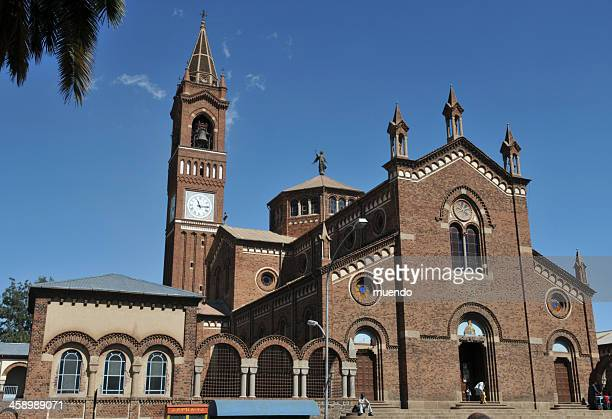 asmara, eritrea, catholic cathedral - eritrea stock pictures, royalty-free photos & images