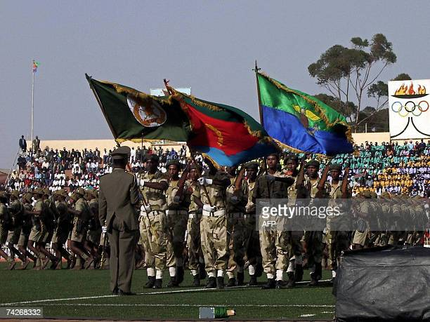 Eritrean soldiers parade during the young country's 16th Independence day celebrations may 2007 at Asmara Despite a continued tense border standoff...