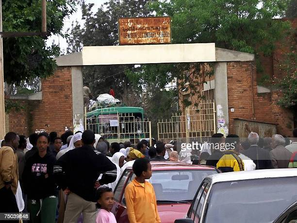 Picture taken 03 July 2007 shows Eritrean youth gathering outside a school in Asmara before getting conscripted as military recruits. Eritrea's...
