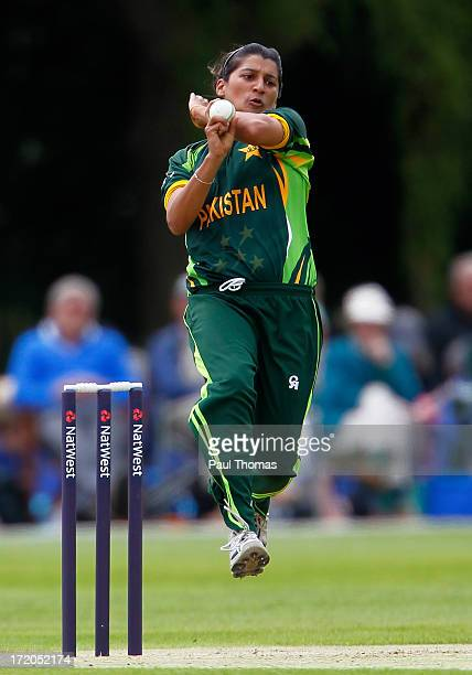 Asmavia Iqbal of Pakistan bowls during the 1st NatWest Women's One Day International match between England and Pakistan at the London Road Sports...