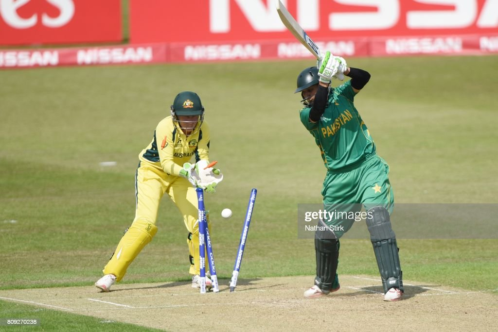 Asmavia Iqbal of Pakistan is bowled during the ICC Women's World Cup 2017 match between Pakistan and Australia at Grace Road on July 5, 2017 in Leicester, England.