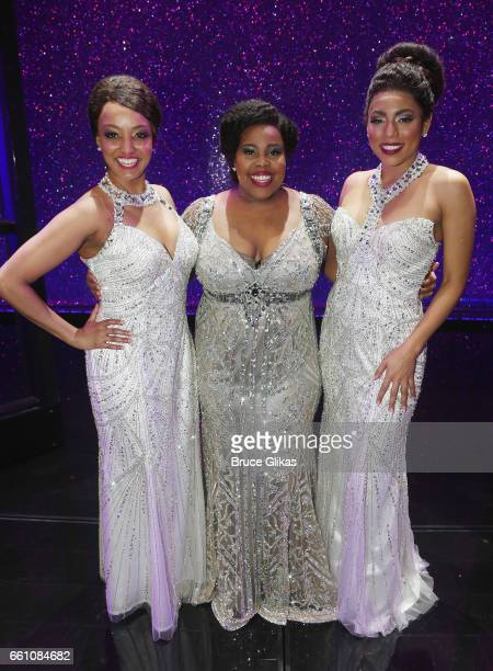 Asmeret Ghebremichael as Lorell Robinson Amber Riley as Effie White and Liisi LaFontaine as Deena Jones pose backstage at the hit musical Dreamgirls...