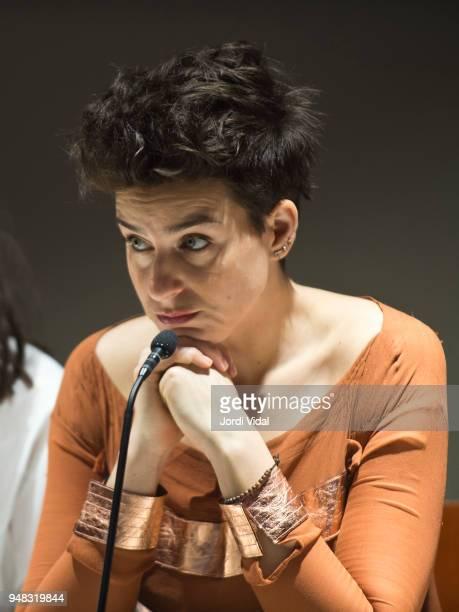Asmik Grigorian attends the press conference for Russian Opera 'Demon' at Gran Teatre del Liceu on April 18 2018 in Barcelona Spain