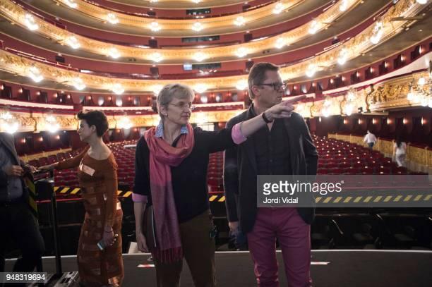 Asmik Grigorian Christina Scheppelmann and Egils Silins attend the press conference for Russian Opera 'Demon' at Gran Teatre del Liceu on April 18...
