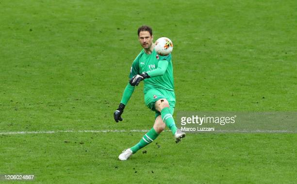 Asmir Begovic of AC Milan kicks a ball during the Serie A match between AC Milan and Genoa CFC at Stadio Giuseppe Meazza on March 8 2020 in Milan...