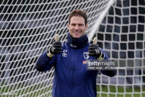 Asmir Begovic of AFC Bournemouth during a training session at Vitality Stadium on January 25 2019 in Bournemouth England