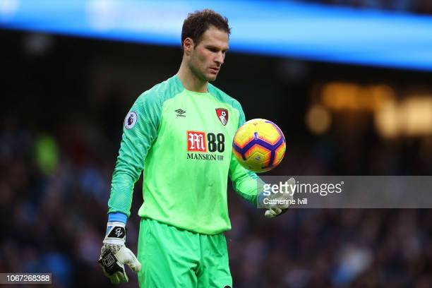 Asmir Begovic of AFC Bournemouth during the Premier League match between Manchester City and AFC Bournemouth at Etihad Stadium on December 1 2018 in...