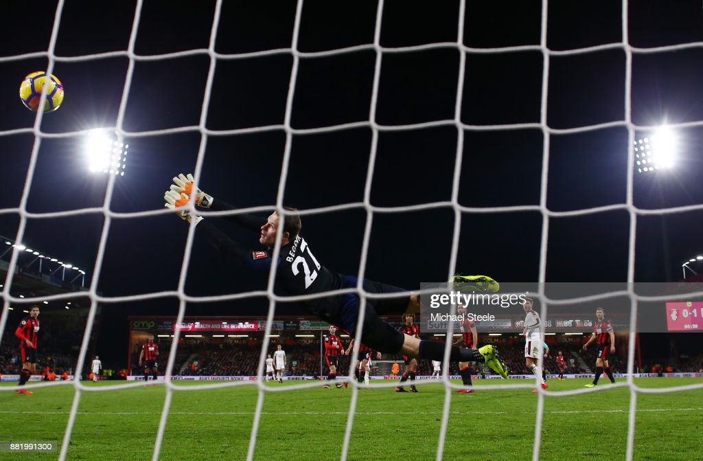 Asmir Begovic of AFC Bournemouth fails to stop Robbie Brady of Burnley (not pictured) shot for Burnley's second goal during the Premier League match between AFC Bournemouth and Burnley at Vitality Stadium on November 29, 2017 in Bournemouth, England.