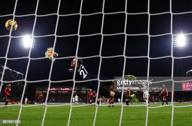 Asmir Begovic of AFC Bournemouth fails to stop Robbie Brady of Burnley shot for Burnley's second goal during the Premier League match between AFC...