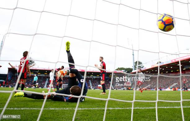 Asmir Begovic of AFC Bournemouth reacts to letting his sides first goal in during the Premier League match between AFC Bournemouth and Southampton at...