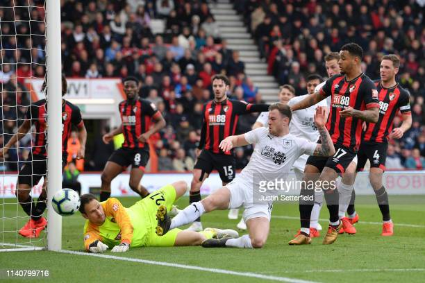 Asmir Begovic of AFC Bournemouth saves from Ashley Barnes of Burnley during the Premier League match between AFC Bournemouth and Burnley FC at...