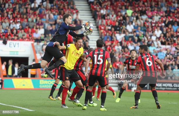 Asmir Begovic of AFC Bournemouth saves in the air during the Premier League match between AFC Bournemouth and Watford at Vitality Stadium on August...