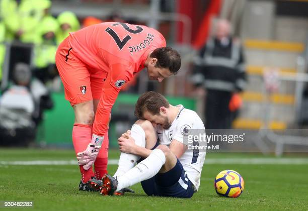 Asmir Begovic of AFC Bournemouth speaks to Harry Kane of Tottenham Hotspur as he goes down injured during the Premier League match between AFC...