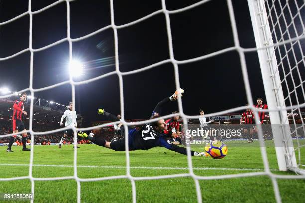 Asmir Begovic of AFC Bournemouth watches Philippe Coutinho of Liverpool's shot cross the line for the opening goal during the Premier League match...