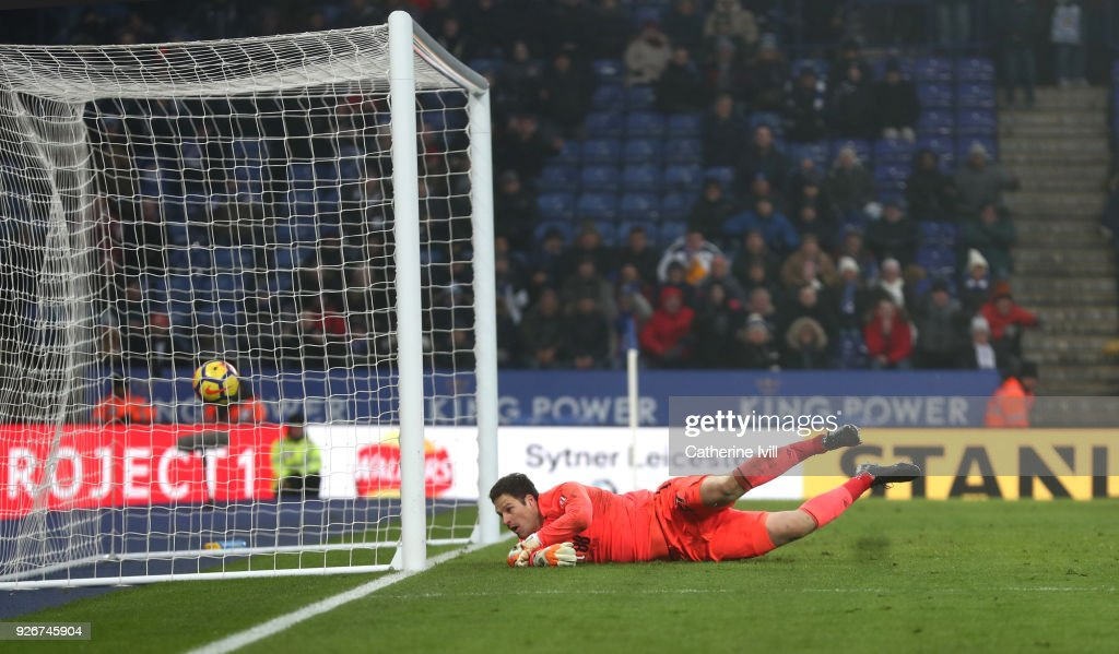 Asmir Begovic of AFC Bournemouth watches Riyad Mahrez of Leicester City's goal cross the line during the Premier League match between Leicester City and AFC Bournemouth at The King Power Stadium on March 3, 2018 in Leicester, England.