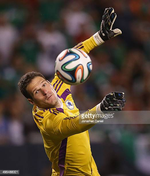 Asmir Begovic of Bosnia Herzegovina makes a save in the second half against Mexico during an international friendly match at Soldier Field on June 3...