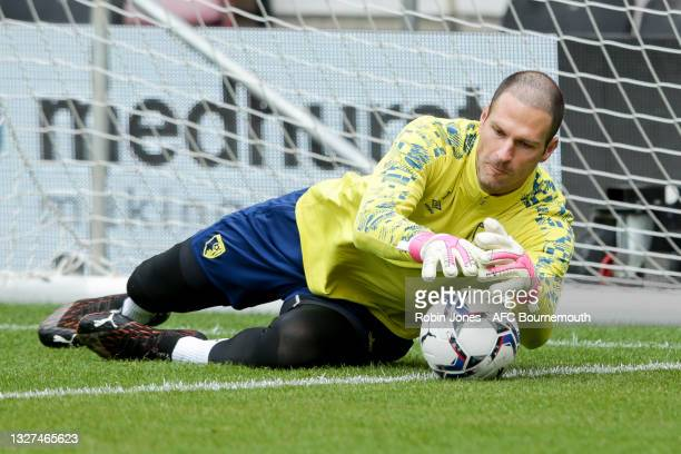 Asmir Begovic of Bournemouth during a pre-season training session at Vitality Stadium on July 07, 2021 in Bournemouth, England.