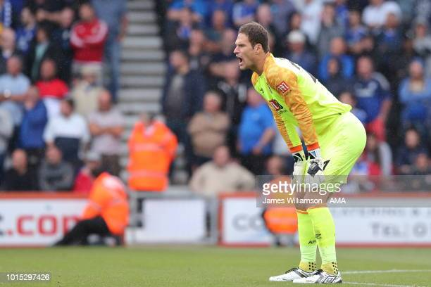 Asmir Begovic of Bournemouth during the Premier League match between AFC Bournemouth and Cardiff City at Vitality Stadium on August 11 2018 in...