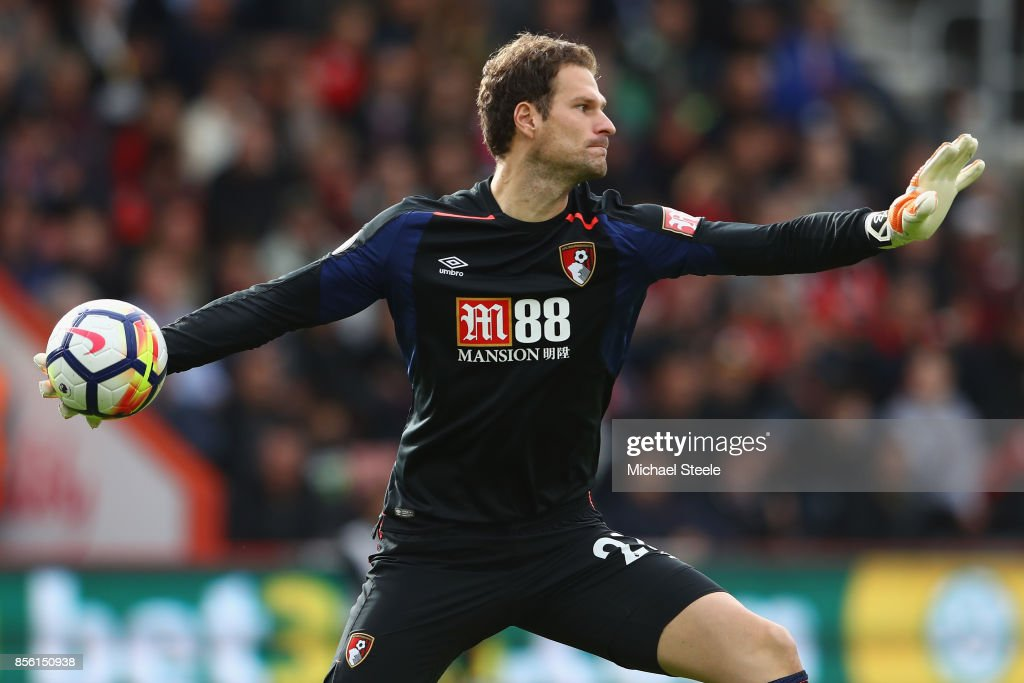 Asmir Begovic of Bournemouth during the Premier League match between AFC Bournemouth and Leicester City at Vitality Stadium on September 30, 2017 in Bournemouth, England.