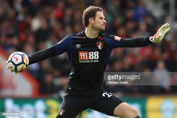 Asmir Begovic of Bournemouth during the Premier League match between AFC Bournemouth and Leicester City at Vitality Stadium on September 30 2017 in...