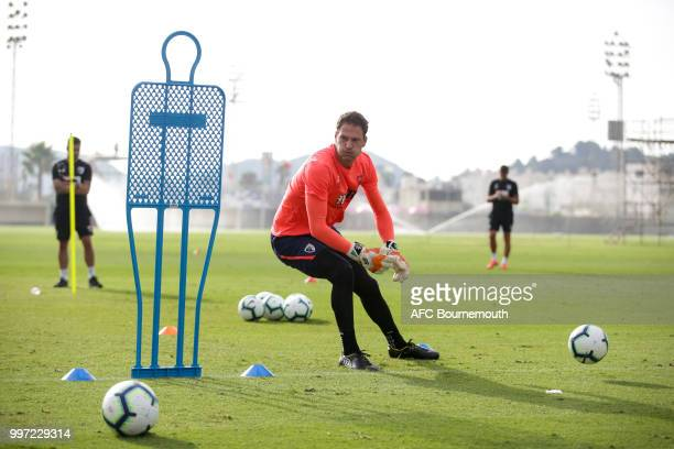Asmir Begovic of Bournemouth during training session at the clubs preseason training camp at La Manga Spain on July 12 2018 in La Manga Spain