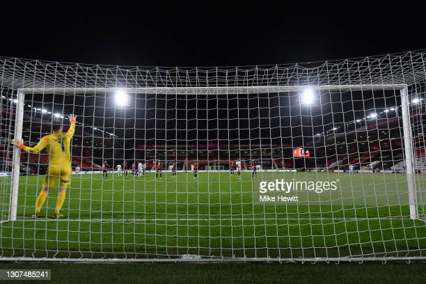 Asmir Begovic of Bournemouth signals during the Sky Bet Championship match between AFC Bournemouth and Swansea City at Vitality Stadium on March 16,...