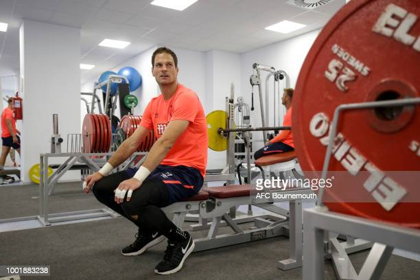 Asmir Begovic of Bournemouth works out in the gym during preseason training on July 19 2018 in La Manga Spain