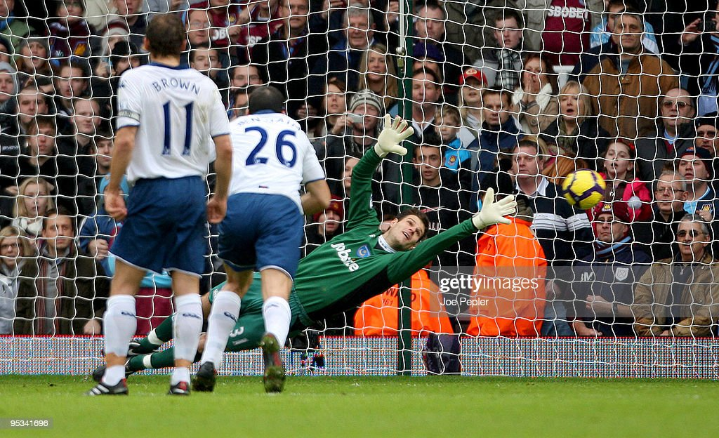 Asmir Begovic of Portsmouth fails to save a penalty from Alessandro Diamanti of West Ham United during the Barclays Premier League match between West Ham United and Portsmouth at The Boleyn Ground on December 26, 2009 in London, England.