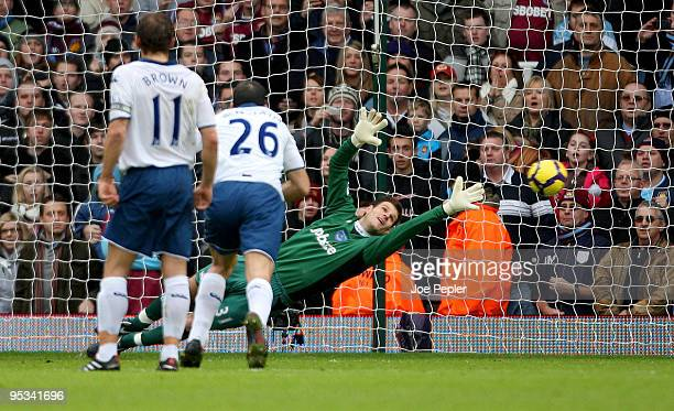 Asmir Begovic of Portsmouth fails to save a penalty from Alessandro Diamanti of West Ham United during the Barclays Premier League match between West...