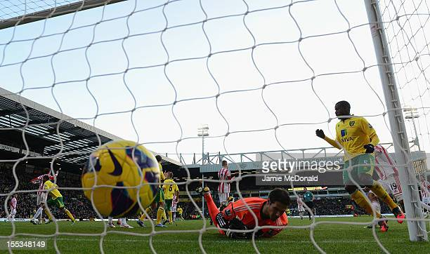 Asmir Begovic of Stoke City fails so msave the goal from Bradley Johnson of Norwich City during the Barclays Premier League match between Norwich...