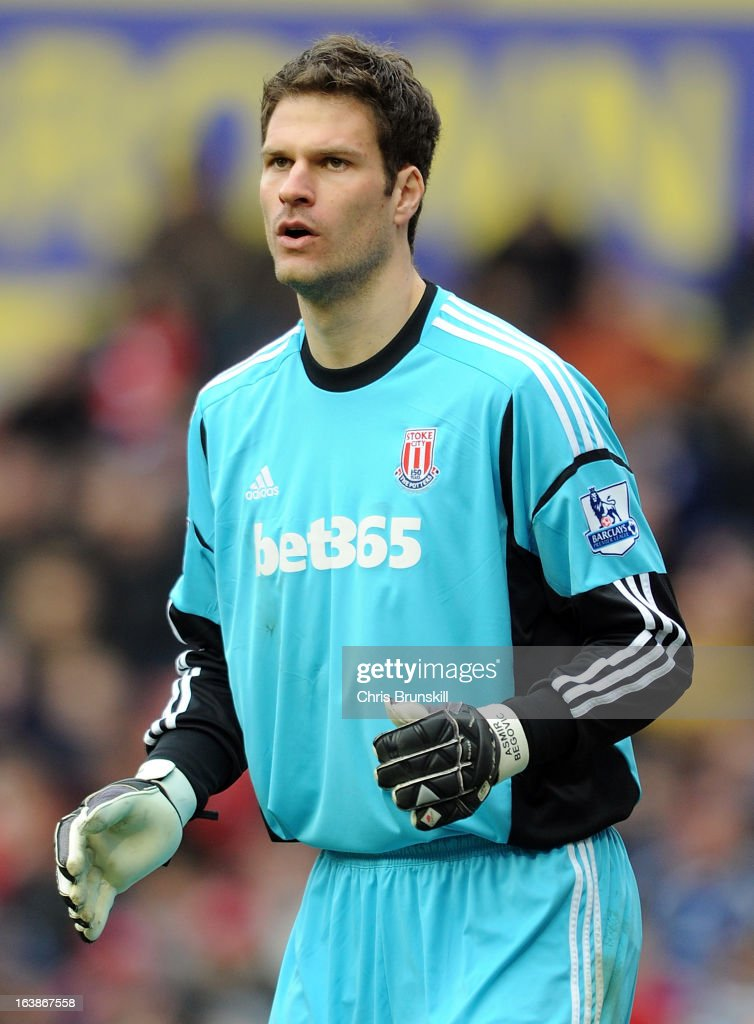 Asmir Begovic of Stoke City in action during the Barclays Premier League match between Stoke City and West Bromwich Albion at Britannia Stadium on March 16, 2013 in Stoke on Trent, England.
