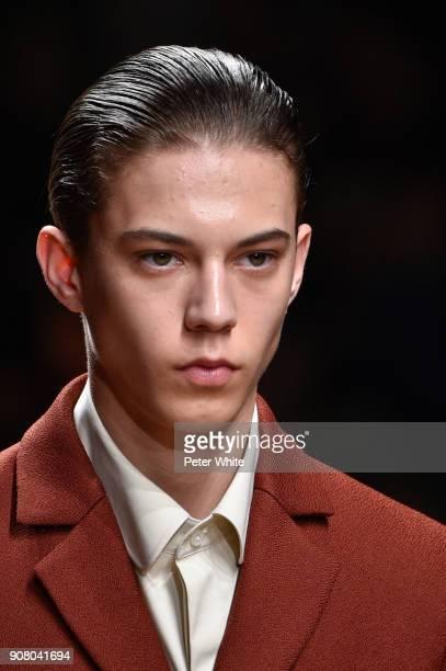 Asmir Besic walks the runway during the Sean Suen Menswear Fall/Winter 20182019 show as part of Paris Fashion Week on January 18 2018 in Paris France