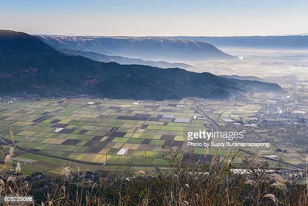 aso village in the morning , kyushu , japan - minamiaso kumamoto stock pictures, royalty-free photos & images