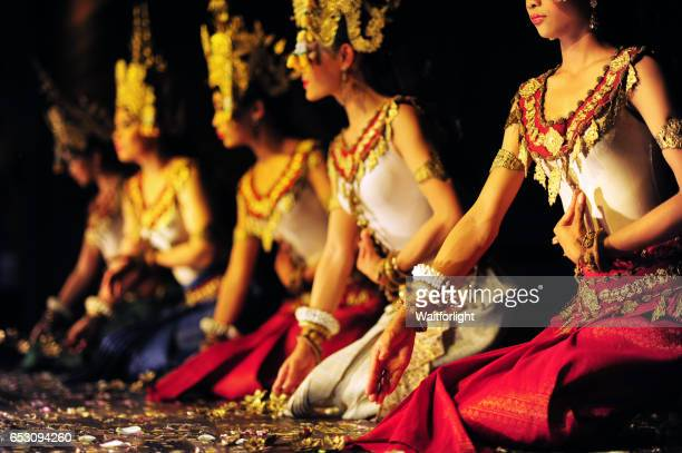 aspara dancers in angkor - apsara stock photos and pictures