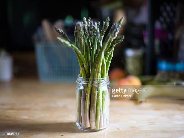 Asparagus in glass jar