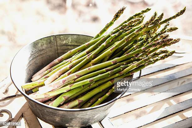 Asparagus on table