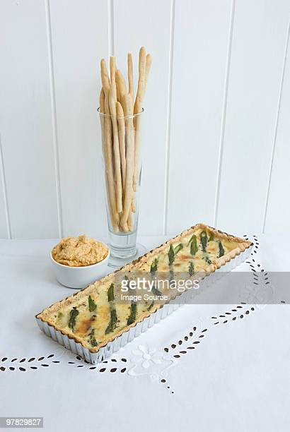 Asparagus quiche and accompaniments