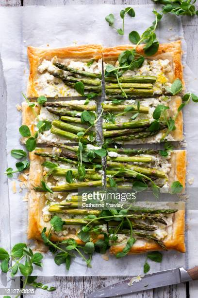 asparagus, ricotta and pea shoot tart - asparagus stock pictures, royalty-free photos & images