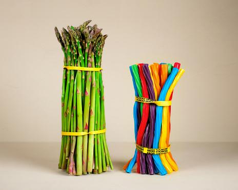 Asparagus Vs Licorice Twists - gettyimageskorea